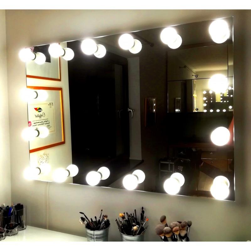 80x60 Cm Lustro Do Makijażu Wizażu Salonu Kosmetycznego 14 żarówek Led